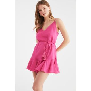 Trendyol Fuchsia Lacing Detailed Voile Beach Dress dámské 36