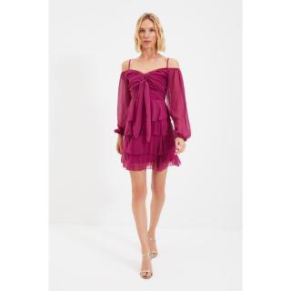 Trendyol Fuchsia Tie Detailed Dress dámské Other 36