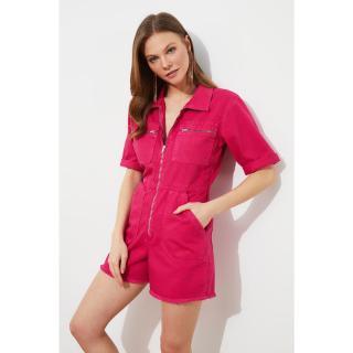 Trendyol Fuchsia Waist Elastic Denim Shorts Overall dámské L