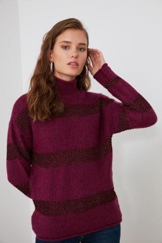 Trendyol Fuchya Striped Knitwear Sweater dámské Fuchsia M