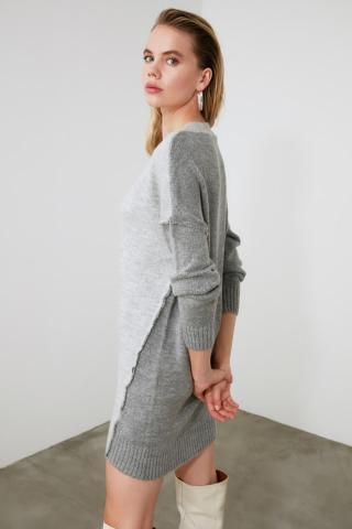 Trendyol Gray Block KnitWear Sweater Dress dámské Grey S