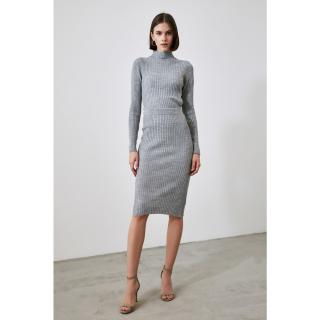 Trendyol Gray Knitwear Sweater Skirt Bottom-Top Suit dámské Grey S