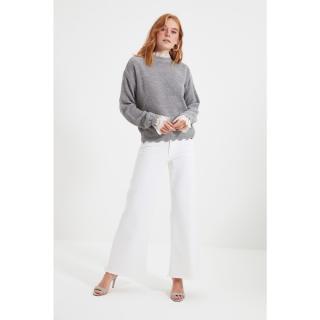 Trendyol Gray Lace Detailed Knitwear Sweater dámské Other S