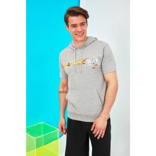 Trendyol Gray Mens Slim Fit Hooded Short Sleeve Licensed Tom & Jerry Printed Sweatshirt pánské S