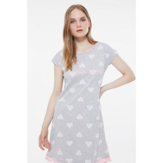 Trendyol Gray Printed Knitted Nightgown dámské S
