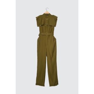 Trendyol Green Belt Collar Detailed Overalls dámské 34