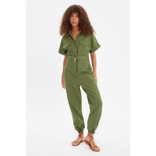 Trendyol Green Belted Buttoned Overalls dámské 34