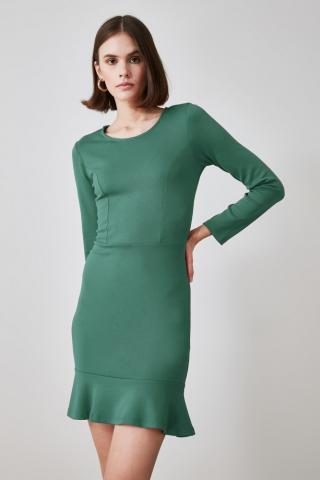 Trendyol Green Bicycle Collar Flywheel Knitted Dress dámské XS
