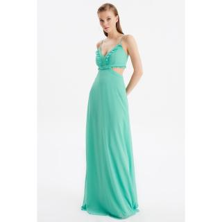Trendyol Green Neck Detailed Evening Dress & Graduation Gown dámské 34
