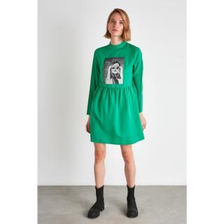 Trendyol Green Printed Dress dámské 34