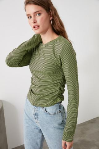 Trendyol Green Ruffle Detailed Knitted Blouse dámské XS