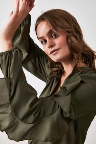 Trendyol Green Ruffly Shirt dámské 34