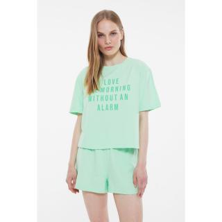 Trendyol Green Slogan Knitted Pajamas Set dámské S