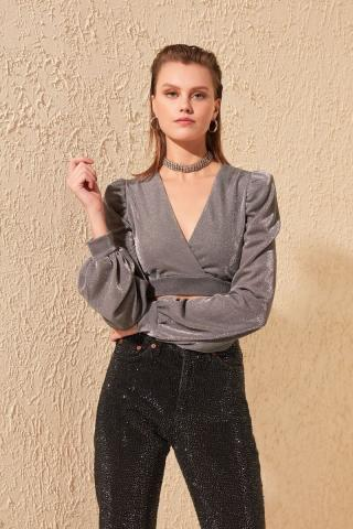 Trendyol Grey Arm Detailed Blouse dámské 38