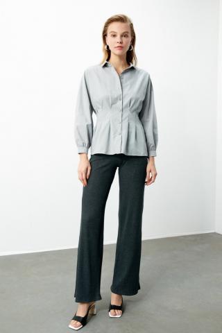 Trendyol Grey Basic Shirt dámské 34