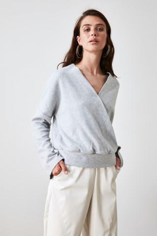Trendyol Grey Cruise Collar Knitted Blouse dámské XS