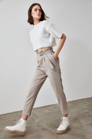 Trendyol Grey Fastening Detailed Trousers dámské 34