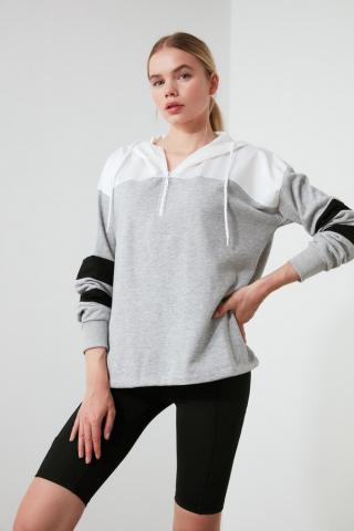 Trendyol Grey Hooded Sports Sweatshirt dámské White S