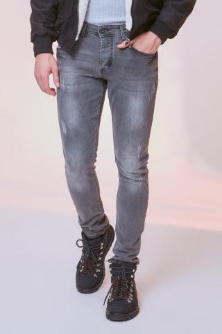 Trendyol Grey Male Rake Wear-Off Skinny Jeans 34