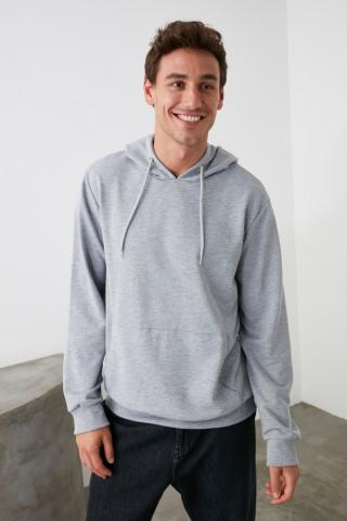Trendyol Grey Men Hooded Kangaroo Pocket Sweatshirt pánské M
