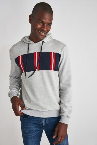Trendyol Grey Mens Panel Hooded Regular Sweatshirt pánské S