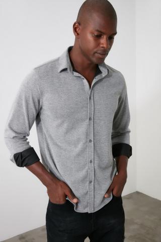 Trendyol Grey Mens Regular Textured Shirt pánské S