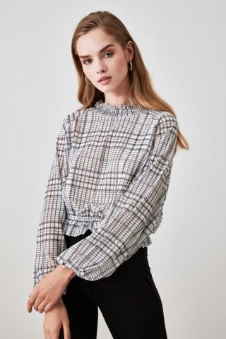 Trendyol Grey Plaid Tulle Knitted Blouse dámské XS