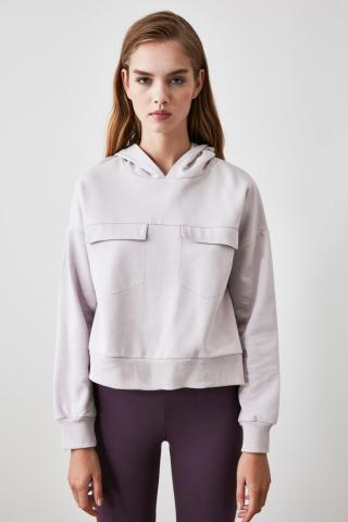 Trendyol Grey Pocket Detailed Hooded Knitted Sweatshirt dámské S