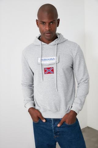 Trendyol Grey Pocket Detailed Hooded Sweatshirt pánské S