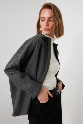 Trendyol Grey Pocket Detailed Shirt dámské 38