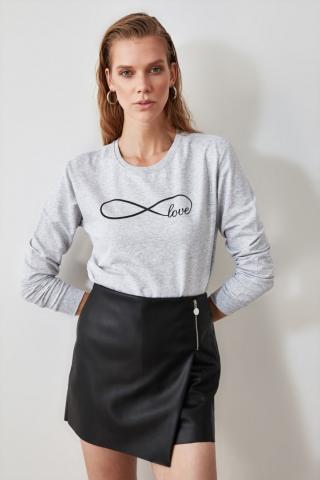 Trendyol Grey Printed Knitted Sweatshirt dámské S