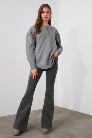 Trendyol Grey Sleeve Detailed Blouse dámské 34