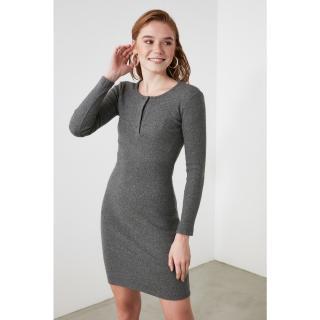 Trendyol Grey Snap Knitted Dress dámské S