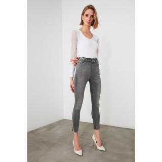 Trendyol Grey Sniped High Waist Skinny Jeans dámské 40