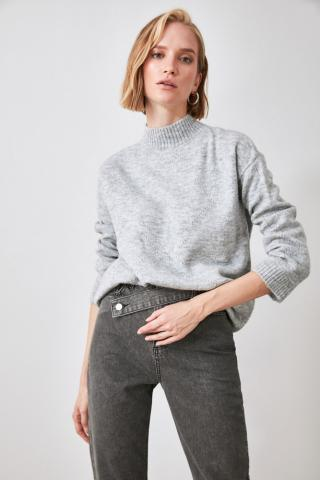 Trendyol Grey Upright Collar Ajurlu Knitwear Sweater dámské S