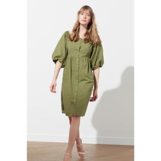 Trendyol Haki Square Collar Buttoned Dress dámské Khaki 34