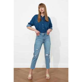 Trendyol High Waist Mom Jeans dámské Navy 36