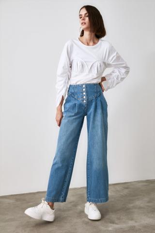 Trendyol High Waist Wide Leg Jeans WITH Blue Front Button Waist DetailING dámské Navy 42