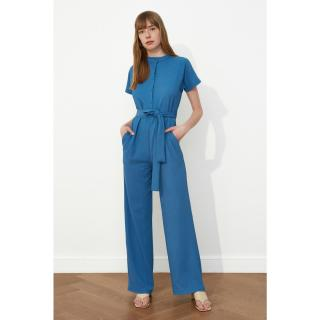 Trendyol Indigo Belt Buttoned Jumpsuit dámské 34