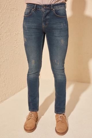 Trendyol Indigo Men Skinny Rake Destroyed Jeans pánské 34