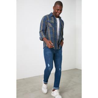 Trendyol Indigo Mens Skinny Destroyed Jeans pánské 29