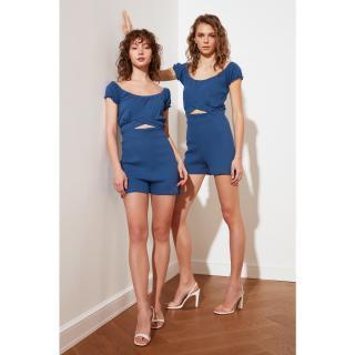 Trendyol Indigo Petite Twill Knit Jumpsuit dámské XXS