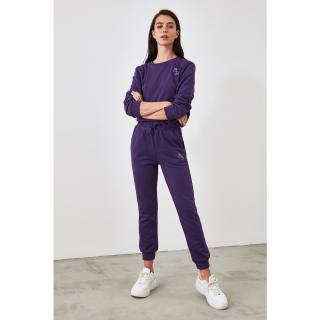 Trendyol Jogger Knitted Tracksuit bottom dámské Purple XS