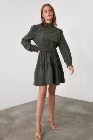 Trendyol Khadi Sheer Neckline Dress dámské Khaki 34