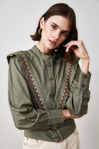 Trendyol Khadi Upright Collar Shirt dámské Khaki 34