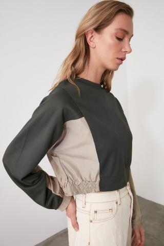 Trendyol Khai Arm Detailed Crop Knitted Sweatshirt dámské Khaki XS