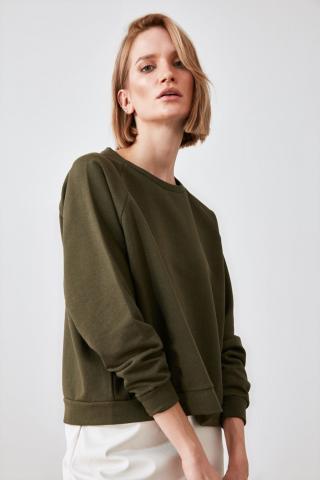Trendyol Khai Basic Knitted Sweatshirt dámské Khaki XS