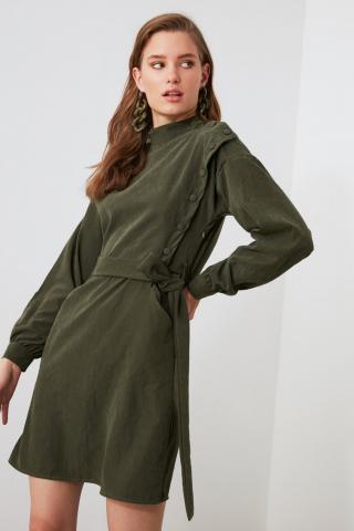 Trendyol Khai Belt Button Detailed Dress dámské Khaki 34