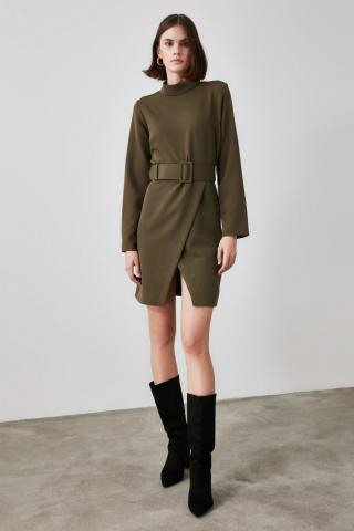 Trendyol Khai Belt Dress dámské Khaki 34