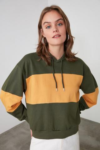 Trendyol Khai Color Block Hooded Knitted Sweatshirt dámské Khaki XS
